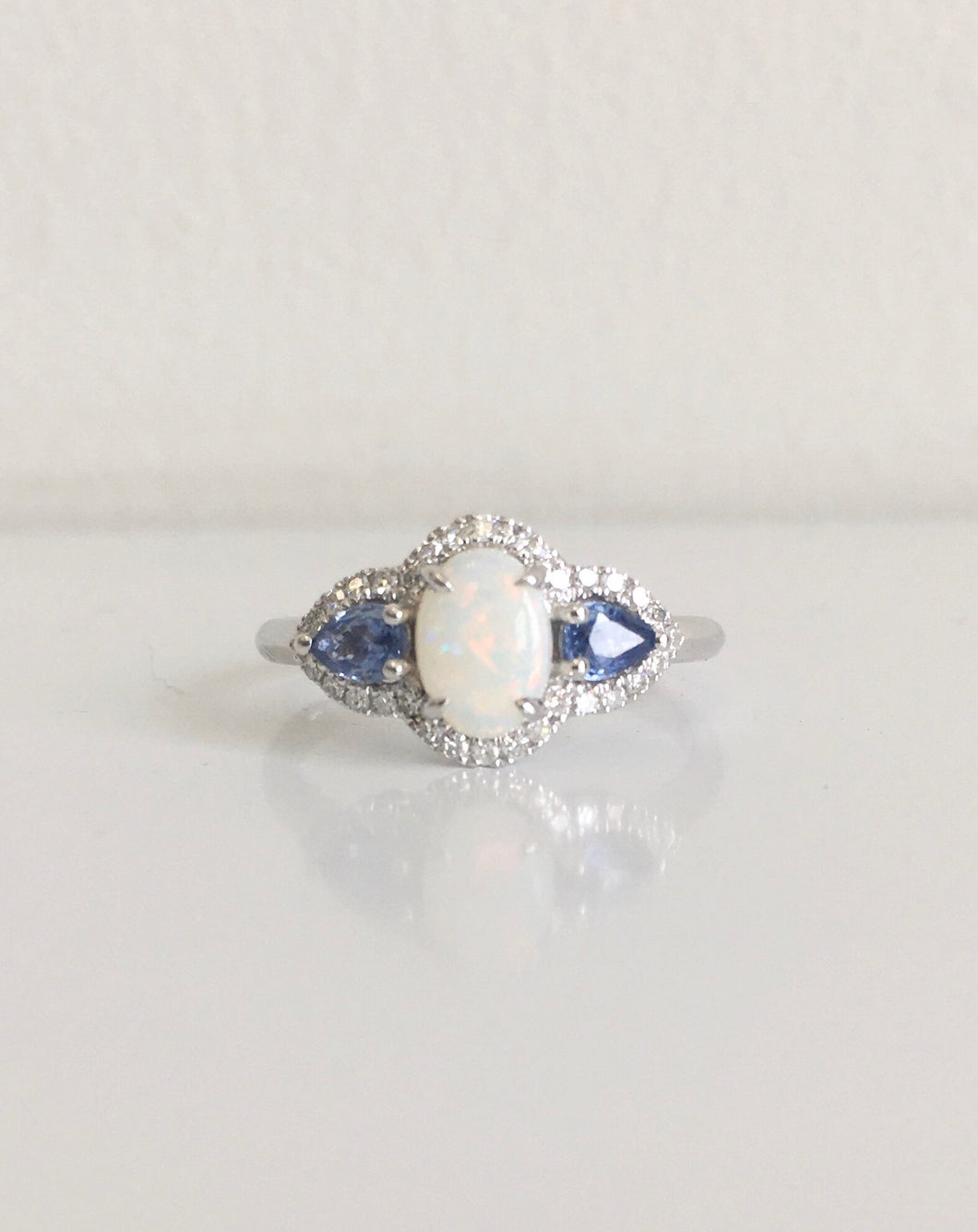 10k White Gold Opal, Blue Sapphire and Diamond Ring