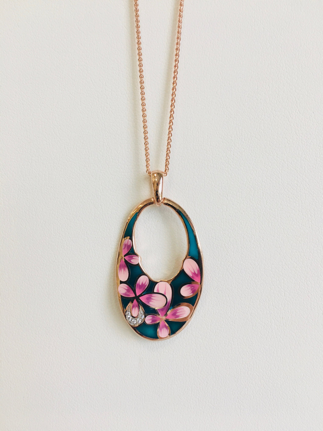 Silver Rose Gold Plated Enamel Pendant