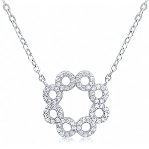 Silver Circle CZ Necklace
