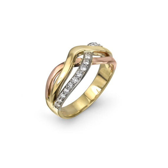 Tri Colour Diamond Ring