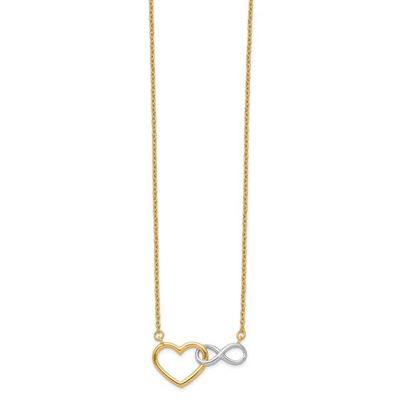 14K Yellow and White Heart with Infinity Symbol Necklace