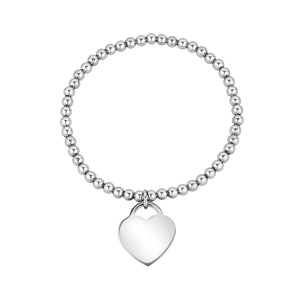 Bead Heart Charm Stretch Bracelet