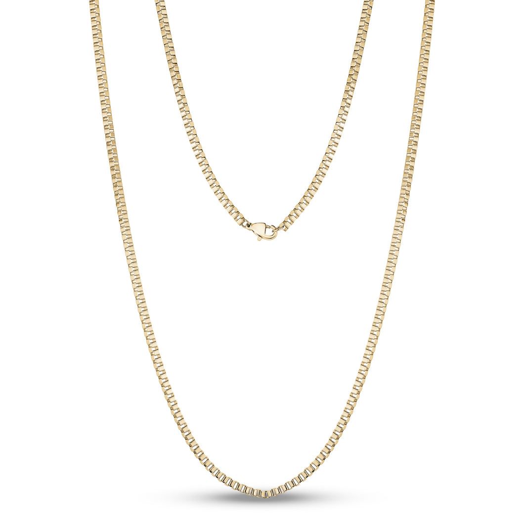 2.5mm Gold Steel Box Link Chain 24
