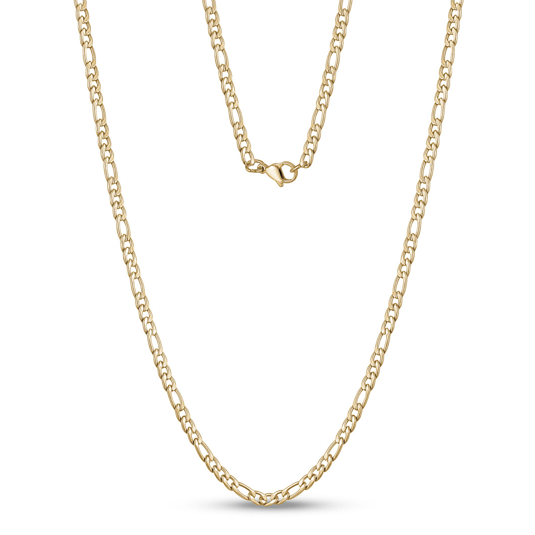3.5mm Gold Steel Figaro Link Necklace