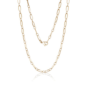 4mm Elongated Gold Link Necklace 18""