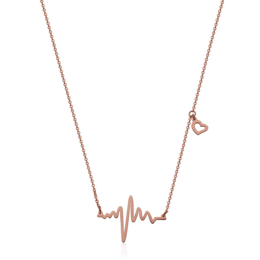 Stainless Steel Heart Beat Necklace