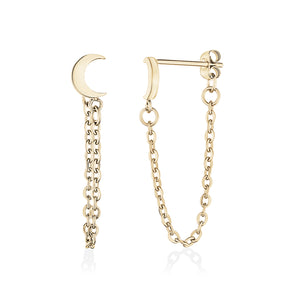 Gold Steel Moon + Chain Stud Earrings