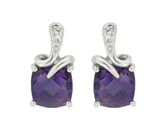 10k White Gold Amethyst and Diamond Earrings