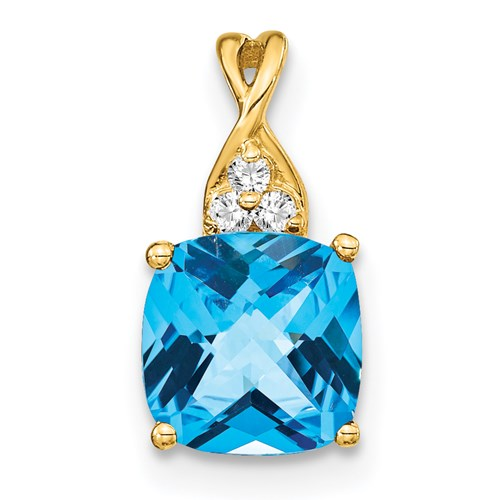 10k Yellow Gold Blue Topaz and Diamond Pendant
