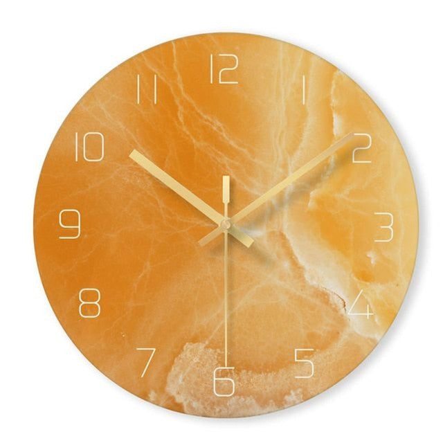 Nordic Glass Marble Texture Wall Clock