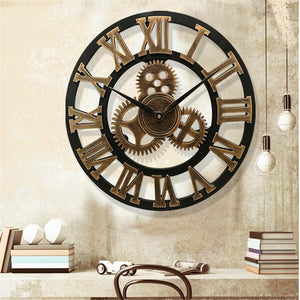 3D Large Classic Vintage Wall Clock