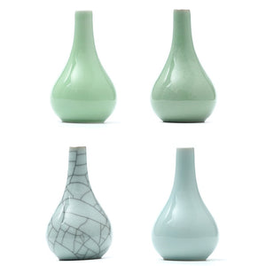 Green Flowers Celadon Vase