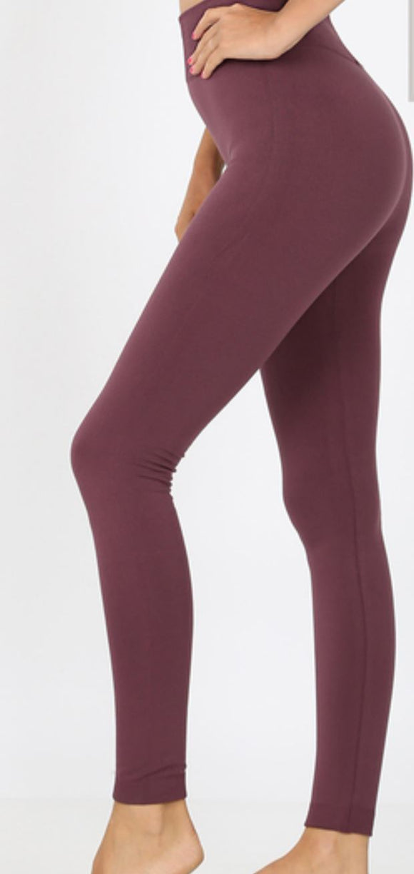 Ribbed Band Fleece Leggings - Plus