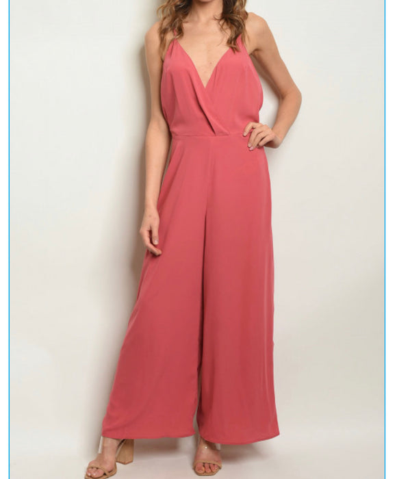 Rose Deep Neck Jumpsuit