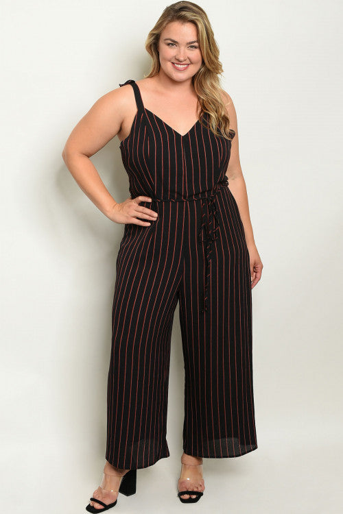 Jody Stripped Plus Size Jumpsuit