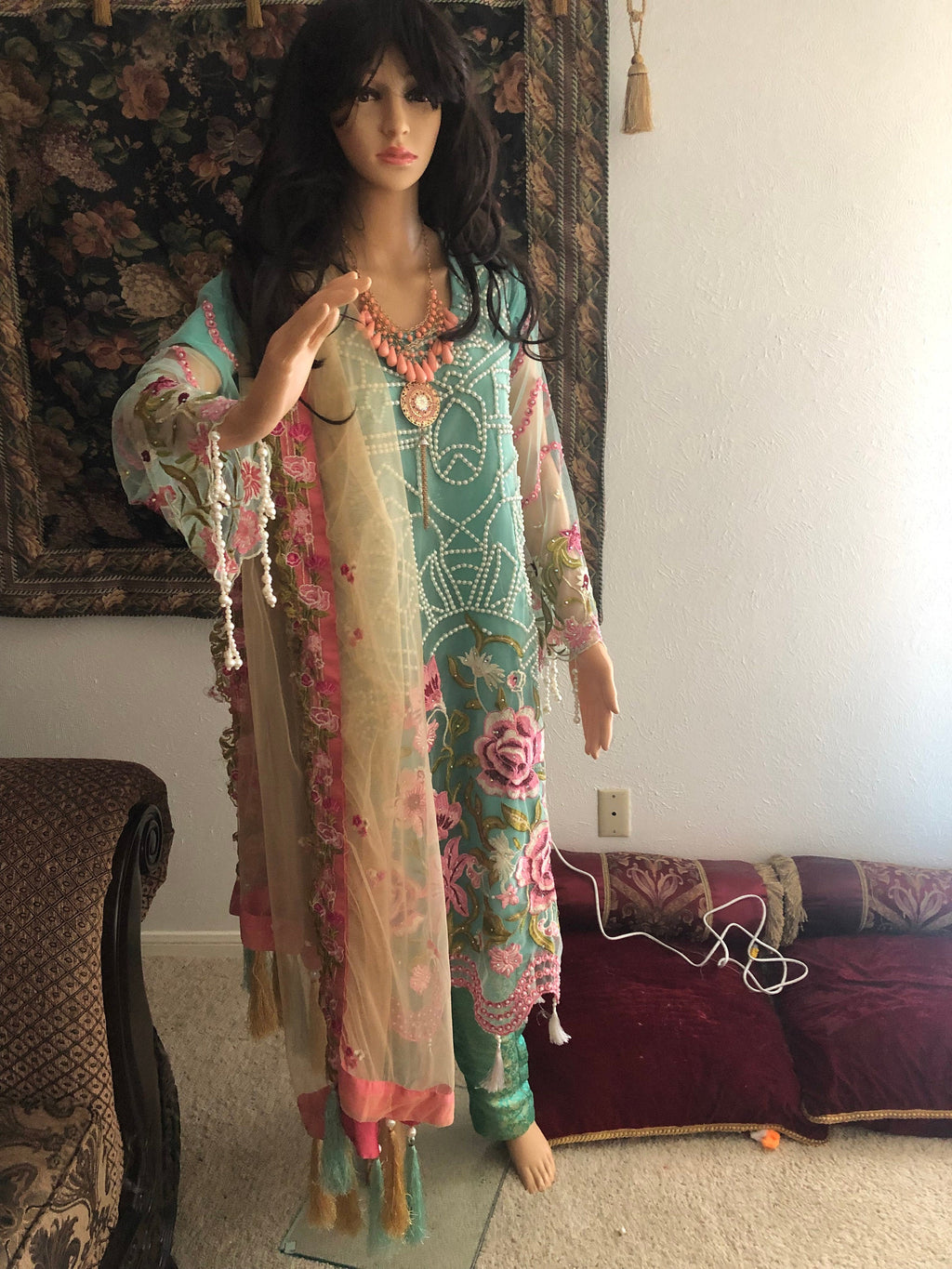 Pakistani trouser suit shalwar kameez Maria b inspired  indian dress