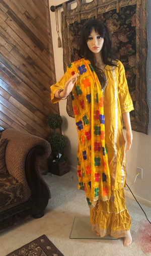 Gharara dress Pakistani Indian dress pretty golden yellow color