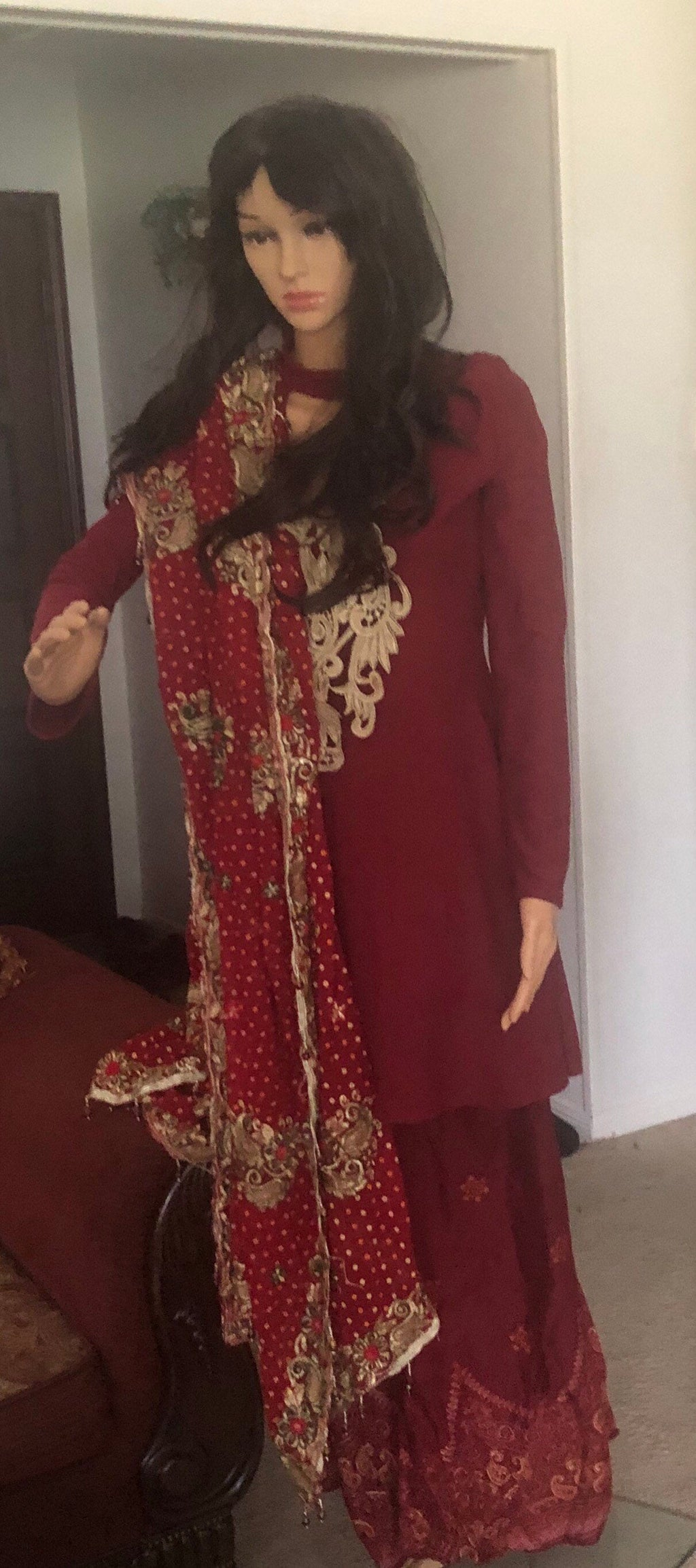 Gharara dress with vintage authentic scarf or dupatta  indian Pakistani shalwar kameez very pretty palazzo
