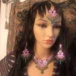 Beaded vintage ,stylish ,retro jewelry earrings necklace  and tika on head Pakistani indian