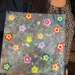 Acrylic dutch pour abstract marble art painting with added 3 d flowers to make more colorful