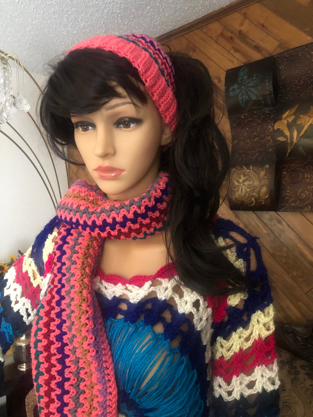 Chunky Colorful Soft knitted beanie and muffler scarf and a knitted hair band