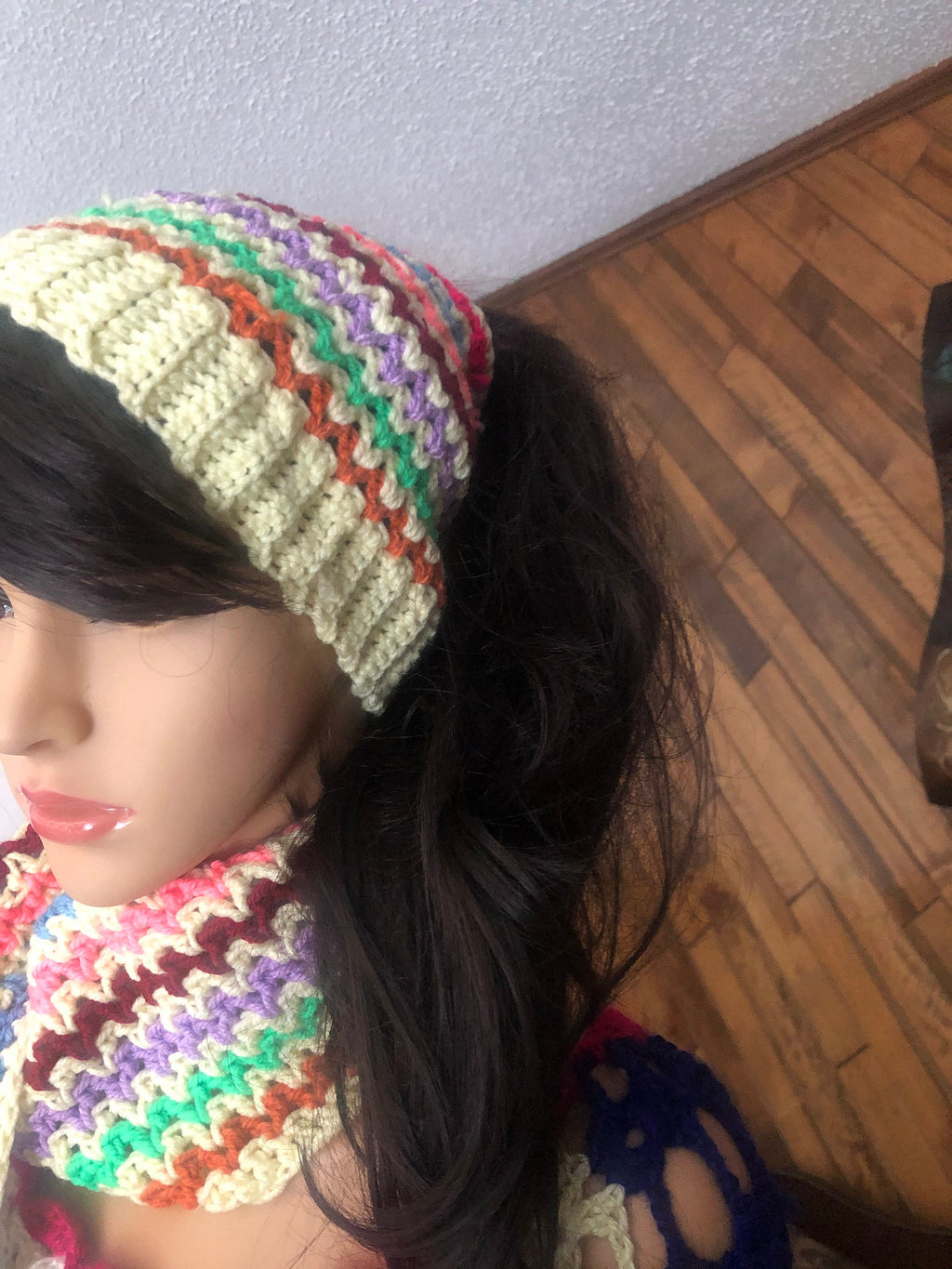 Chunky Colorful soft knitted beanie with matching scarf muffler and head band