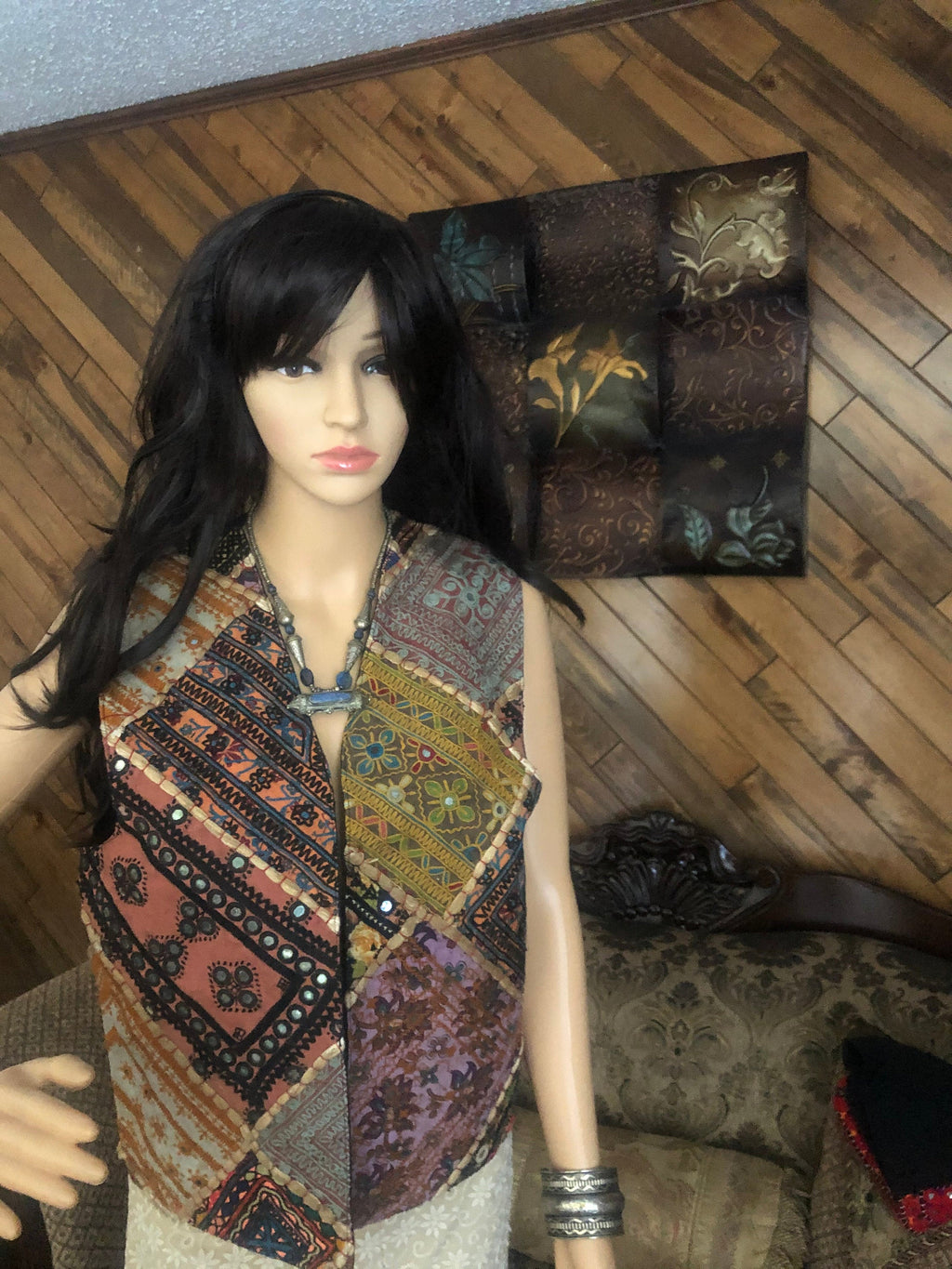 Sindhi tribal banjara Gypsy vest or koti very colorful mirror and thread patches work