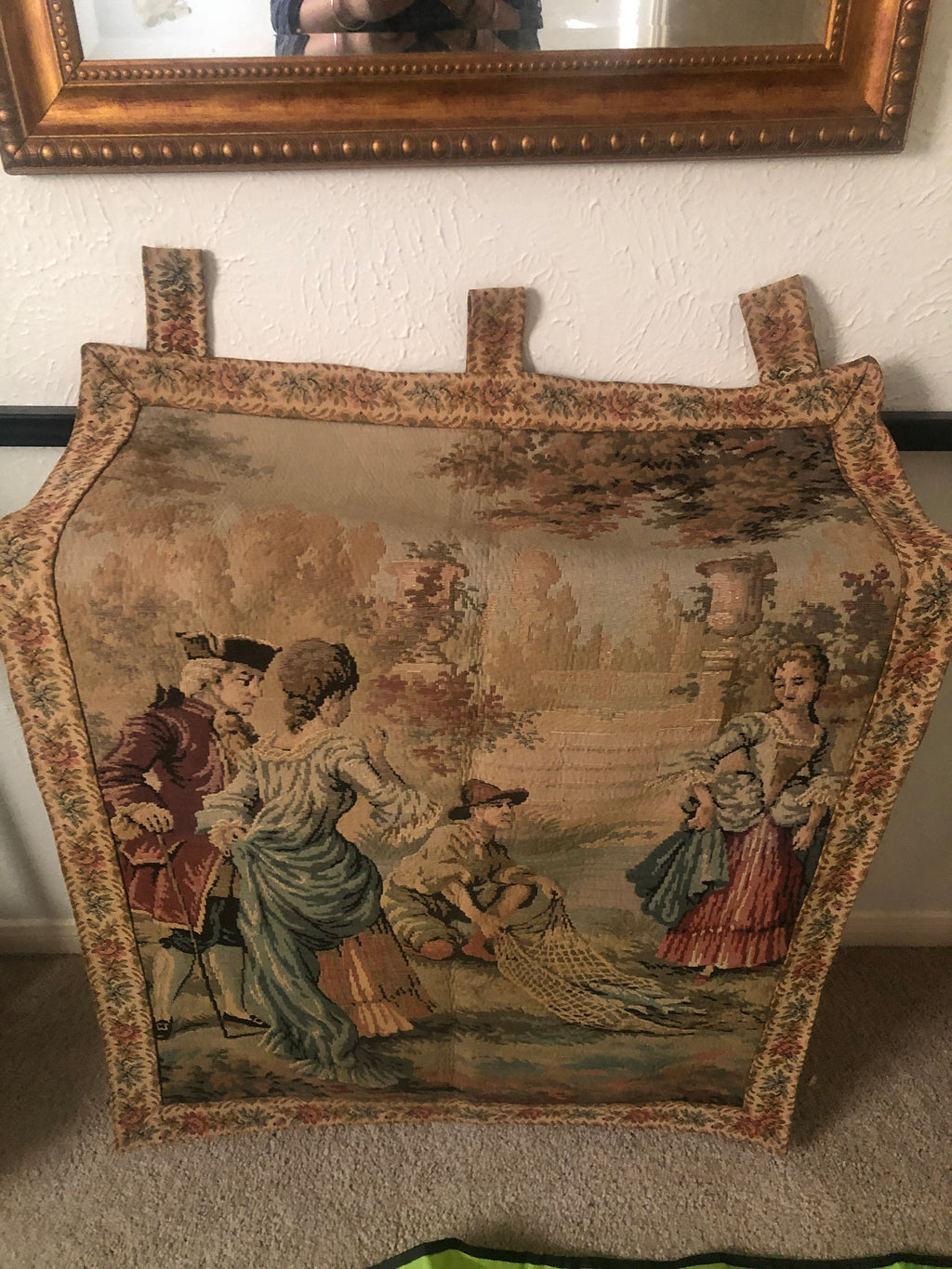 Vintage tapestry on cotton jute tapestry