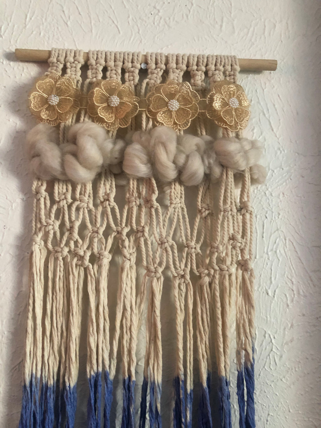 Colourful blue , grey and off white macrame with 3 d flowers