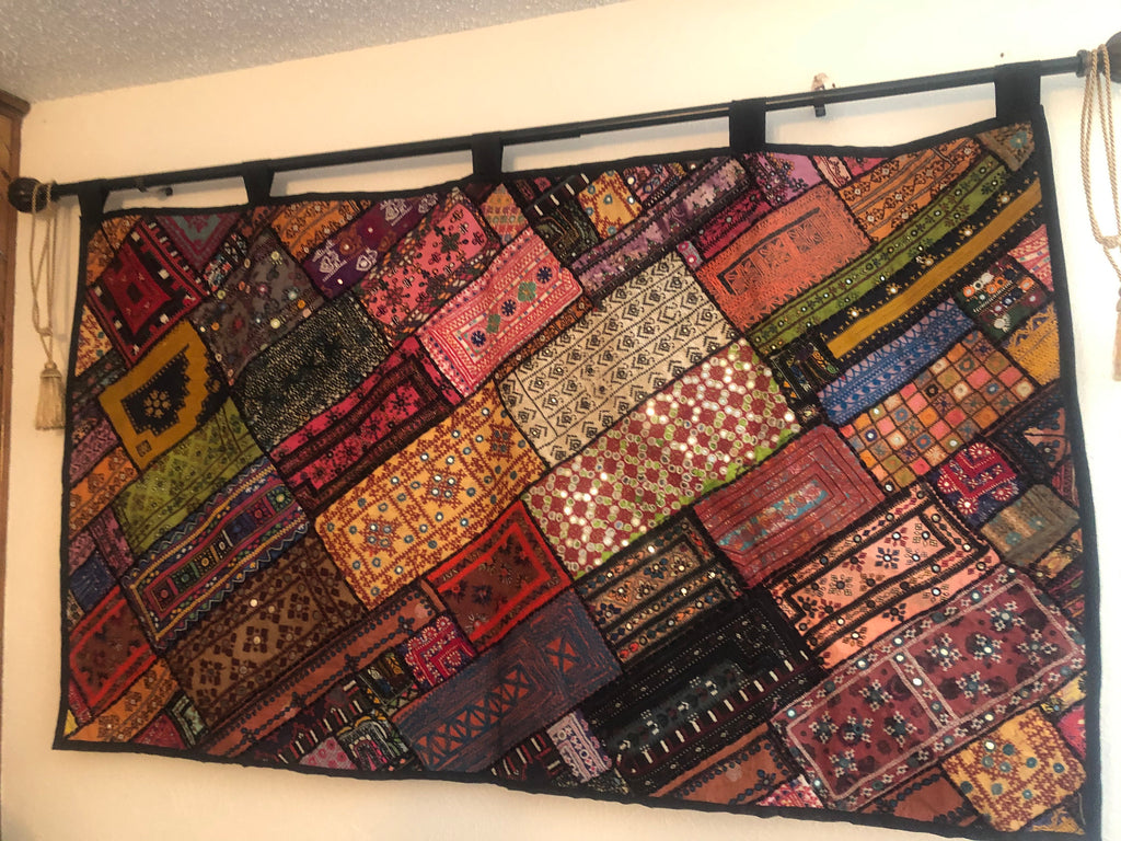 Sindhi banjara Gypsy vintage embroidery patch tapestry large size with mirrors work