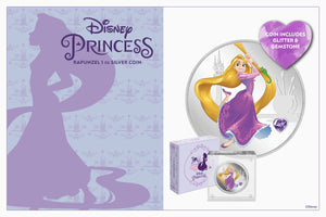 NEW Disney Princess Silver Coin with Gemstone features Rapunzel