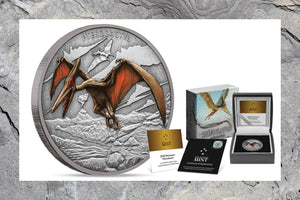 Third Dinosaur Coin shows the Winged Pterodactyl