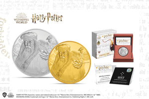 Powerful Wizard Albus Dumbledore in Gold & Silver