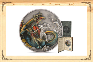 TREACHEROUS NORSE DRAGON BEAUTIFULLY ILLUSTRATED ON SILVER COIN