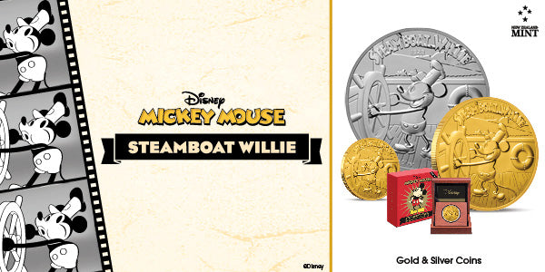 Disney Steamboat Willie Silver and Gold coins