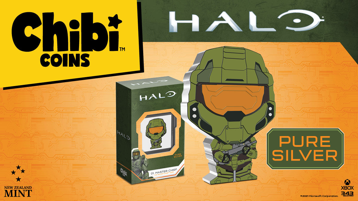 Officially licensed by Microsoft and made from 1oz of pure silver, this Chibi™Coin features the legendary super-soldier the Master Chief. The coin has been shaped and coloured in the Chibi art style to mimic the iconic hero from the Halo franchise.