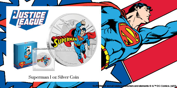 JUSTICE LEAGUE™ 60th Anniversary SUPERMAN™ 1oz Silver Coin Available Now | NZ Mint