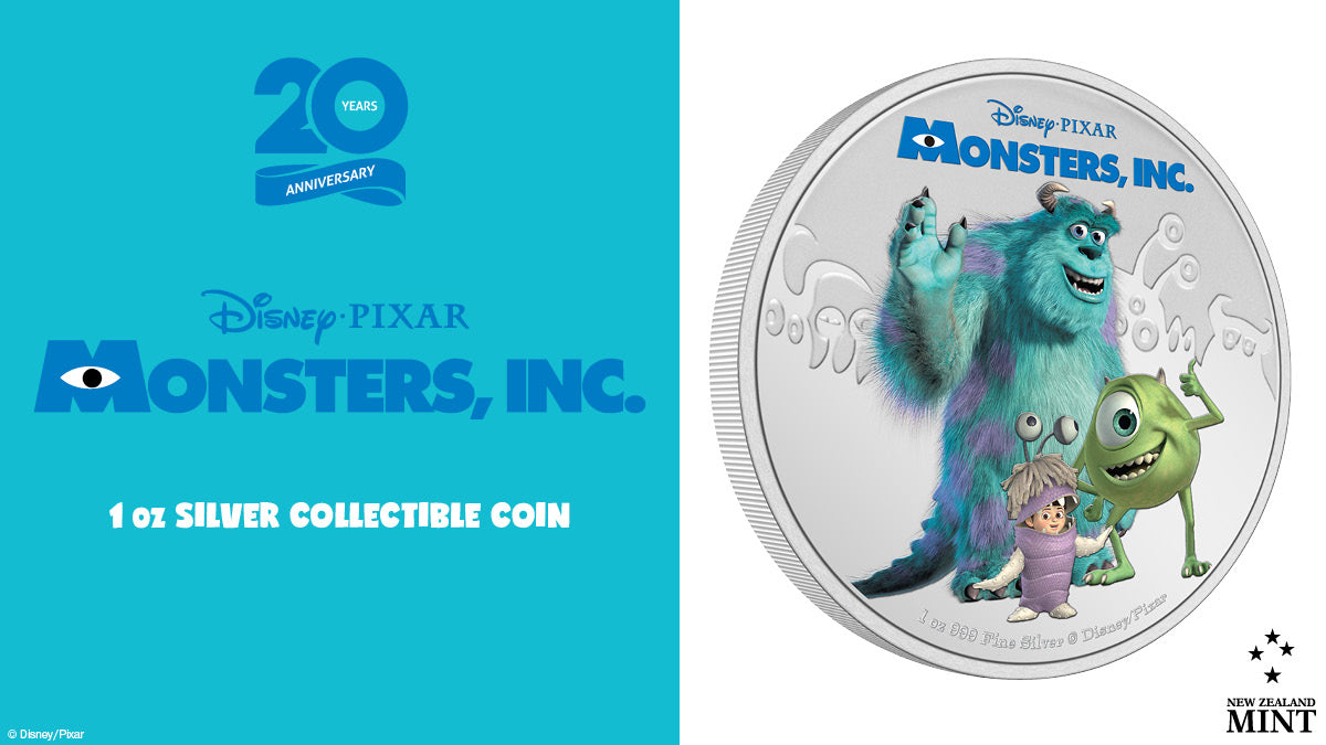 Today sees the release of a new coin to celebrate the 20th Anniversary of Disney and Pixar's animated feature film from 2001, Monsters, Inc.. This 1oz pure silver coin shows a coloured image of Sulley, Mike, and Boo against a backdrop of monsters!