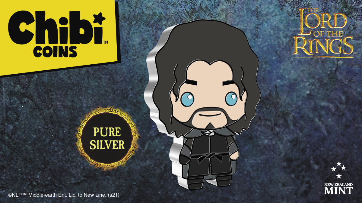 Made from 1oz of pure silver, this officially licensed coin has been shaped and coloured to mimic Aragorn in the Chibi art style. Aragorn's piercing eyes and shaggy hair are the significant features used in this coin design.