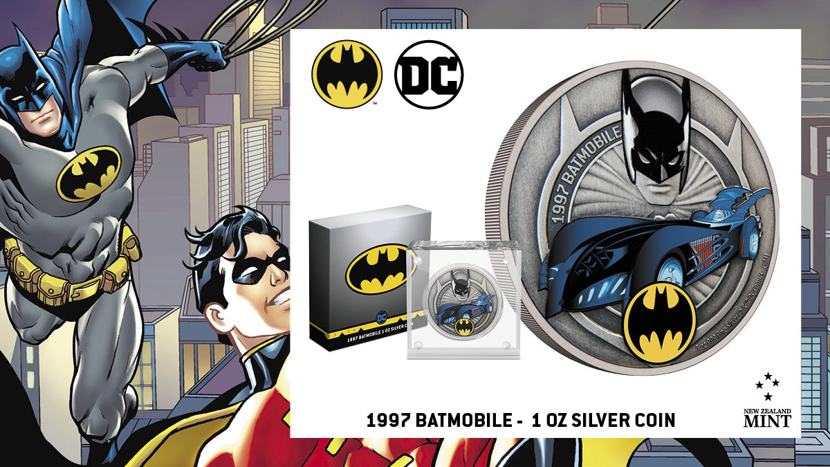 This specially designed collectible coin features the Batmobile from the 1997 movie Batman & Robin™. It appears in vibrant colour along with the BATMAN™ logo. Also features an engraved and coloured image of BATMAN and the words '1997 Batmobile'. collectible coin features the Batmobile from the 1997 movie Batman & Robin™. It appears in vibrant colour along with the BATMAN™ logo. Also features an engraved and coloured image of BATMAN and the words '1997 Batmobile'.