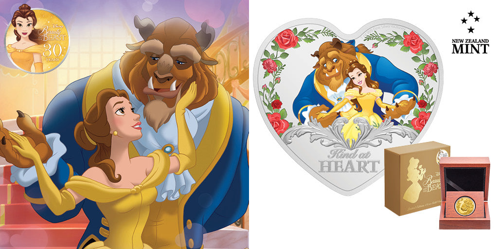 Beauty and the Beast 30th Anniversary 1oz Silver & 1/4oz Gold Coins Celebrating this Iconic Pairing.  This ¼oz engraved gold coin shows Belle in front of the Beast, smiling as he gently holds her hands. Low mintage of only 250 to be produced. Learn more.