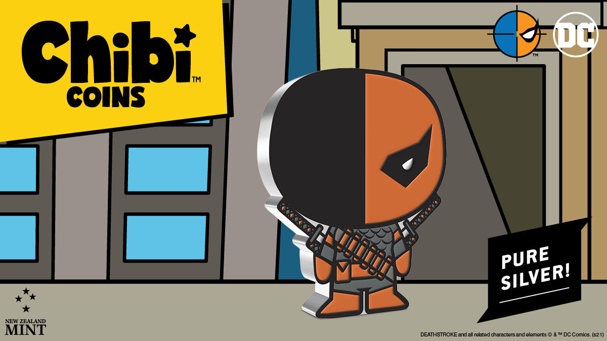 DEATHSTROKE is instantly recognisable in this Chibi art style with his half-black and half-orange mask, Ikon suit, Ninjato Sword and Ballistic Staff. Don't let the shape and colour fool you, this is still a 1oz pure silver collectible coin.