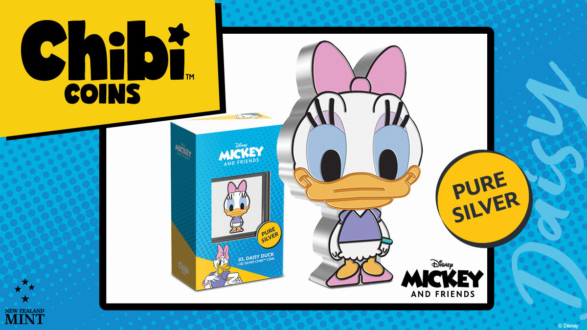 This delightful Daisy Duck Collectible Chibi™ Coin has been shaped and coloured to represent the Chibi style. Made from 1oz of pure silver it shows fashionable Daisy with her lavender eye shadow, long eyelashes, iconic bow, and heeled shoes.