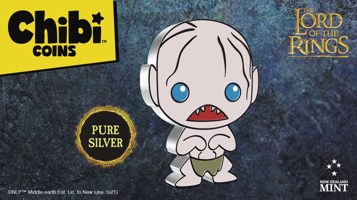 Officially licensed, this 1oz pure silver coin shows the pale-skinned Gollum wearing his loincloth. Together with his large, beady eyes, small strands of brown hair and few sharpened teeth, he is instantly recognisable.
