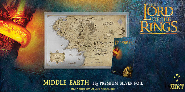 Lord of the Rings Middle Earth Map 35g Premium Silver Foil
