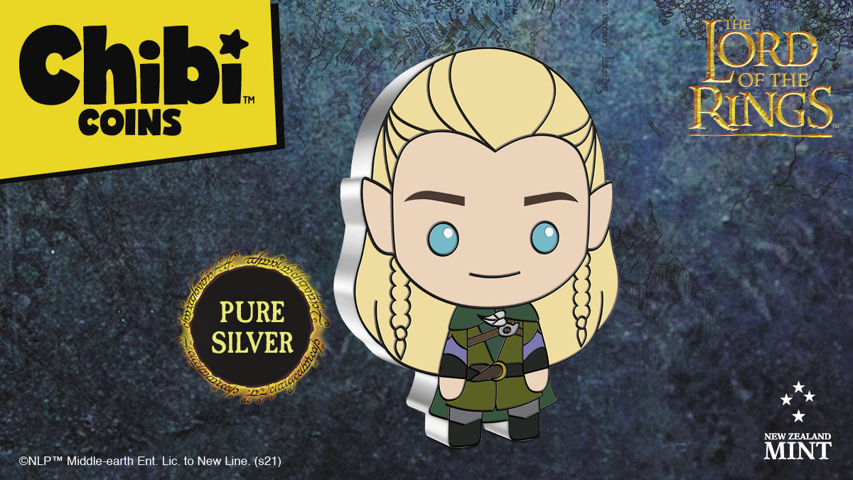 Legolas, the Elf from THE LORD OF THE RINGS™, takes his place in this 1oz Silver Chibi™ Coin Collectible Series. Featured in grey and green attire, his distinctive long blond hair, pointed ears and bright blue eyes make him instantly recognisable.
