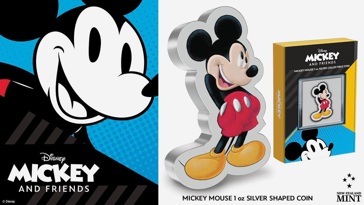 We're excited to reveal a brand-new Disney 1oz Silver Collectible Coin for Mickey Mouse - and this time it's been shaped to Mickey's pose! It features a smiling Mickey Mouse in a casual stance, hands thrust inside his glossy, bright red shorts.