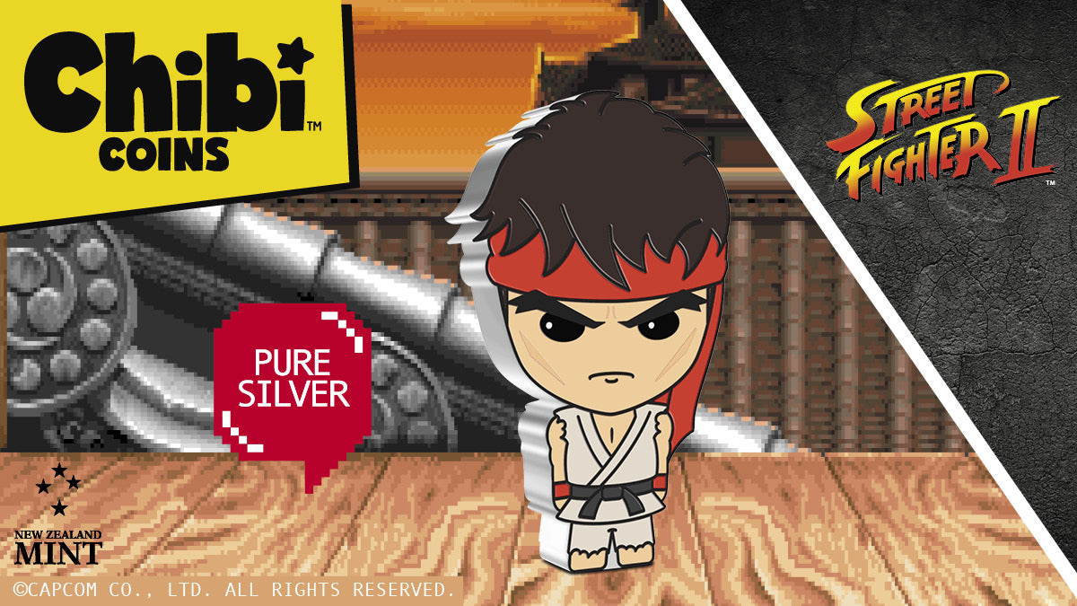 Our growing Chibi™ Coin Collection continues with a new series for the iconic video game Street Fighter™. This 1oz silver coin shows Ryu in his most recognizable attire of tattered white karate gi, long red headband, red gloves and bare feet.
