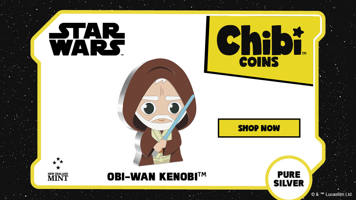 Officially licensed by Lucasfilm Ltd, this Chibi™ coin is made from 1oz of pure silver which has been shaped and coloured to represent Obi-Wan Kenobi™ in the Chibi style. He is shown in his traditional Jedi™ robes while brandishing his Lightsaber™.