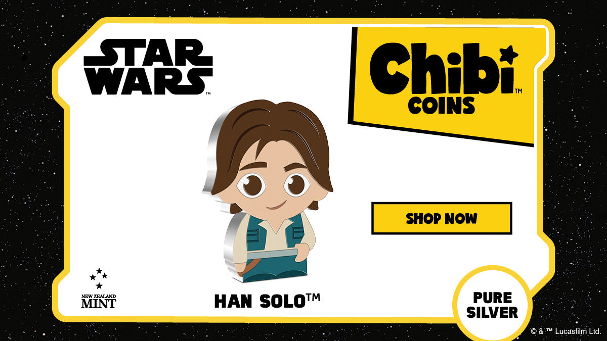 Next in our Chibi™ Coin Collection is the great leader, Han Solo™. The coin is made from 1oz of pure silver which has been shaped and coloured to mimic Han in the Chibi art style. Learn more...